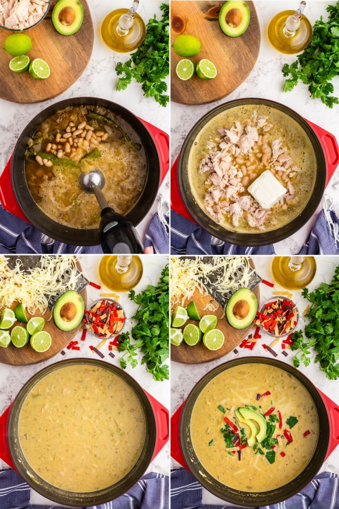 step by step photos of white beans added and blended into the green chicken chili, chicken and cream cheese added, and finished creamy soup with toppings on and around