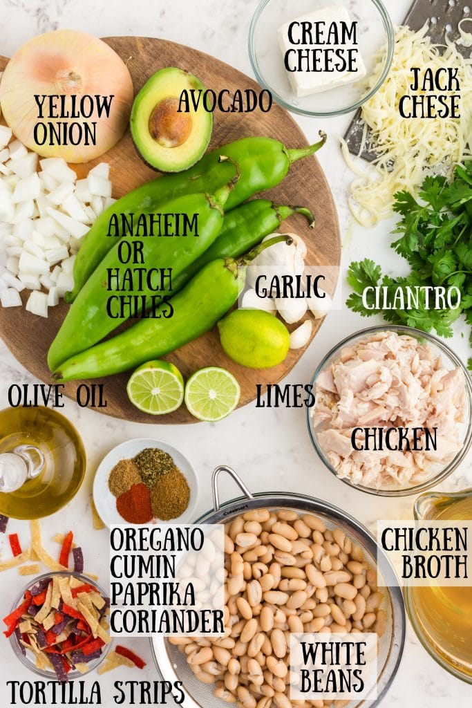 chile peppers, diced onions, chicken, spices, white beans, and the remaining ingredients in the green chicken chili