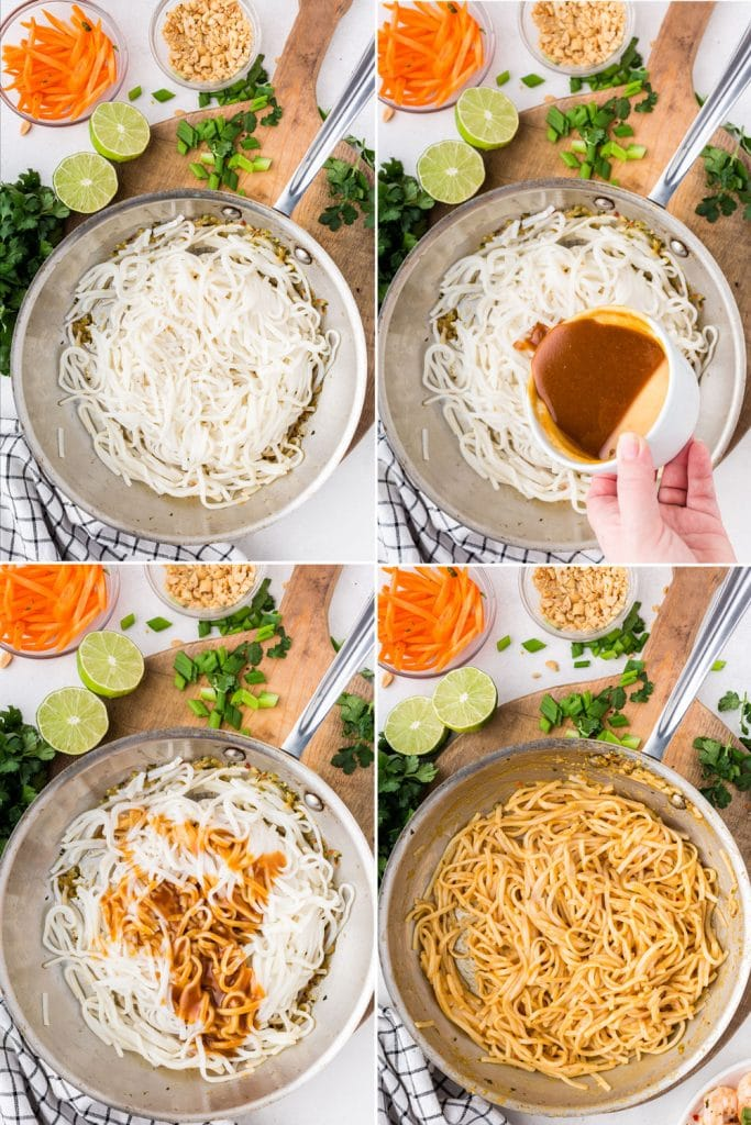 photo collage of rice noodles in saute pan being mixed with peanut sauce; carrots, peanuts, and lime in background