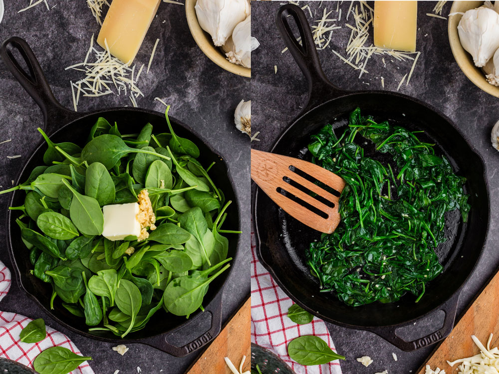 side by side photos of spinach, butter, and garlic in cast iron pan before and after cooking