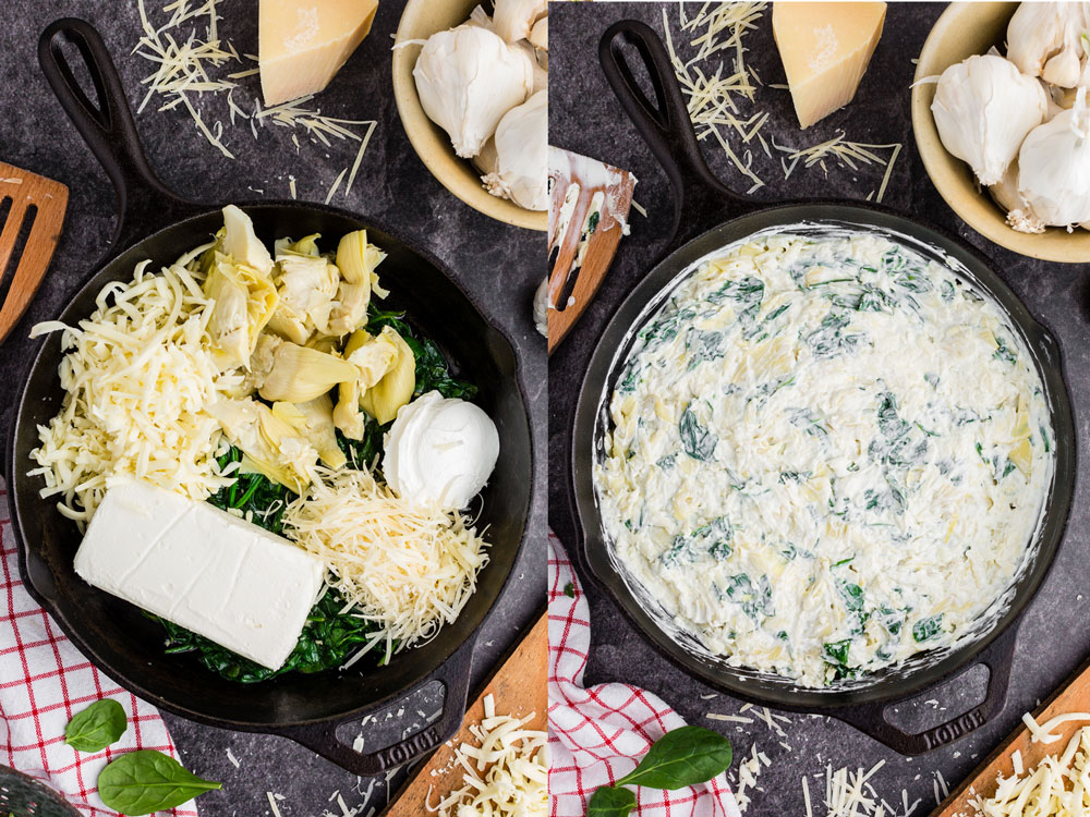 side by side photos of spinach artichoke dip ingredients placed in cast iron pan and then mixed altogether in pan