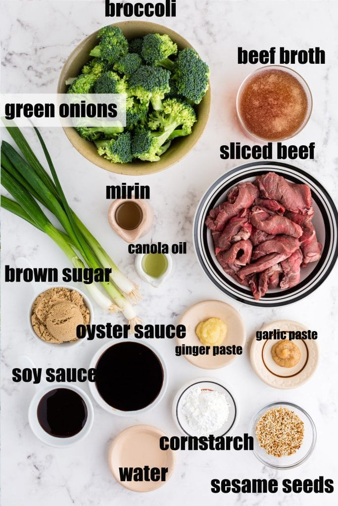 ingredients for beef and broccoli set out in individual bowls