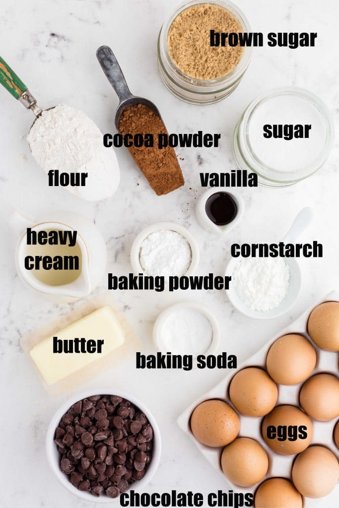 ingredients set out for cookies in various scoops and bowls