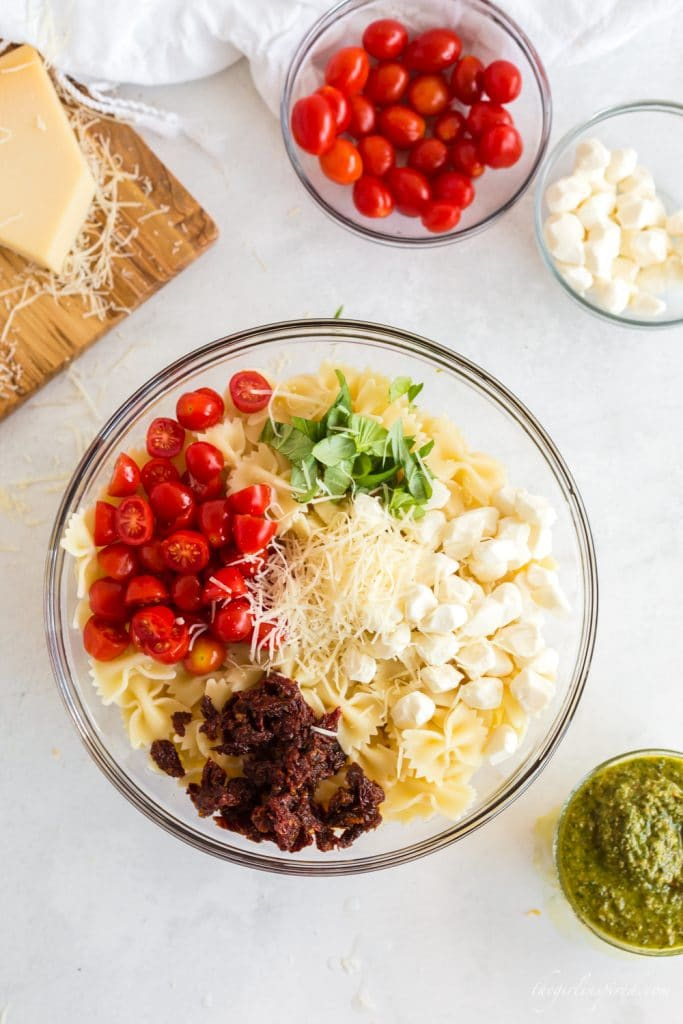 separate ingredients - cherry tomatoes, sundried tomatoes, basil, mozzarella,and parmesan in piles atop bowtie pasta in a glass bowl