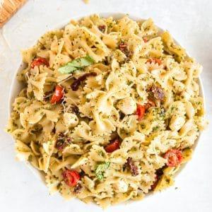 pesto pasta salad in bowl