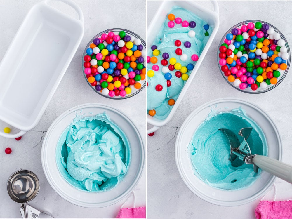 photo collage of blue ice cream in ice cream maker scooped and layered with bubblegum balls into loaf pan
