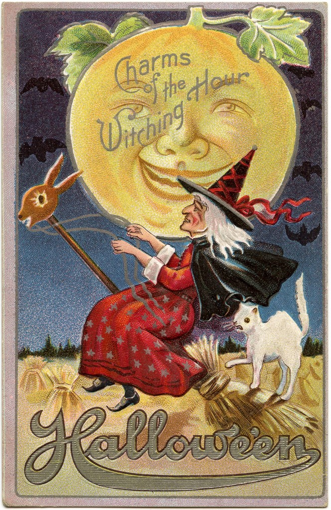 Vintage Halloween Witch Image With Moon Man The Graphics