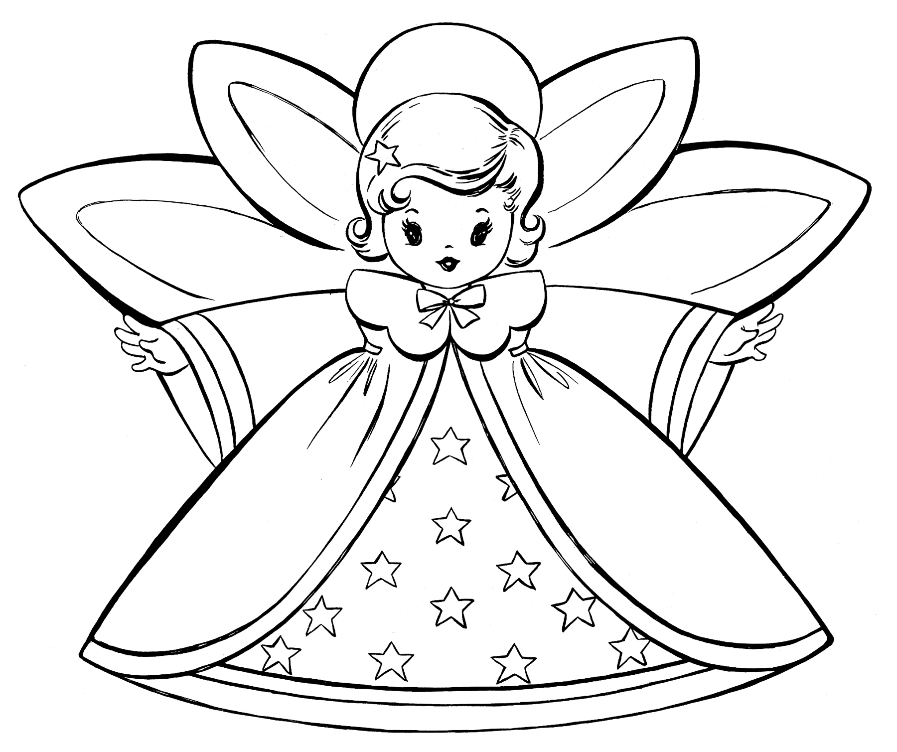 Free Christmas Coloring Pages Retro Angels The Graphics Fairy Download Owl With Gift Boxes Page Printable