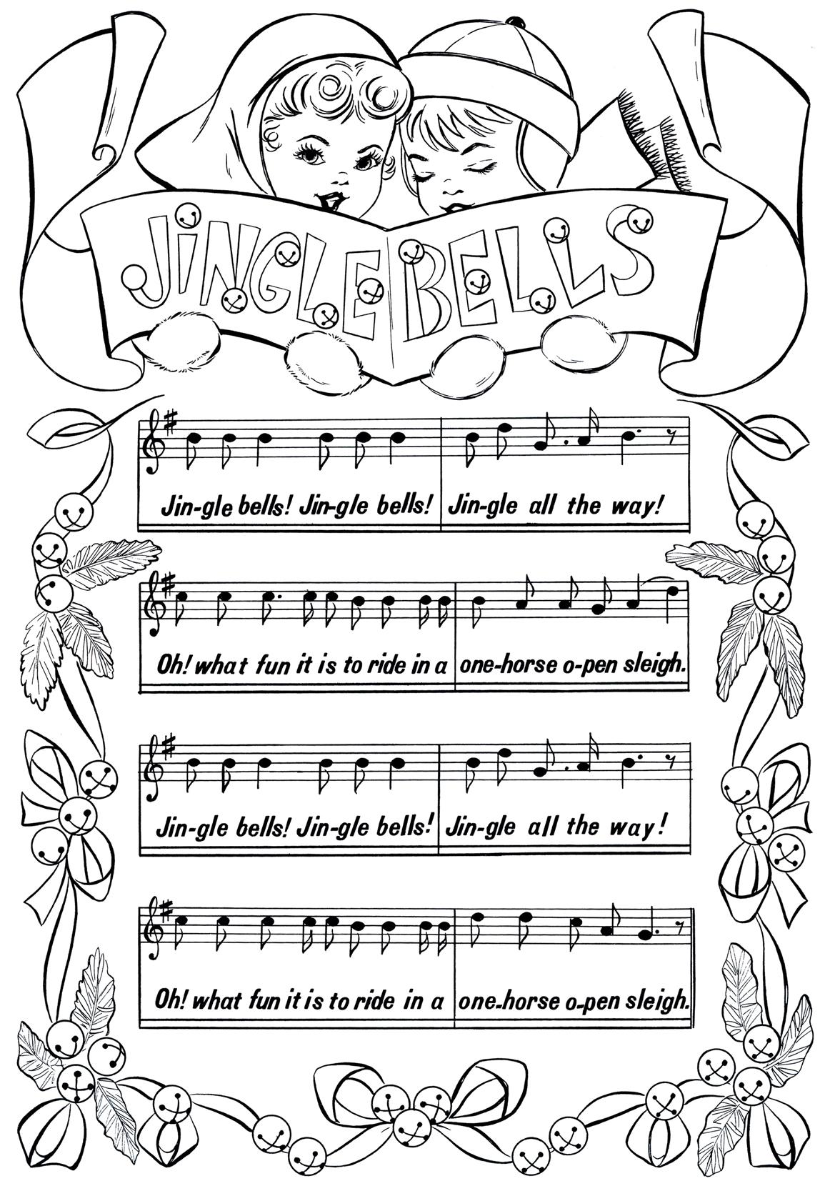 Printable Christmas Coloring Page Jingle Bells The Graphics Fairy