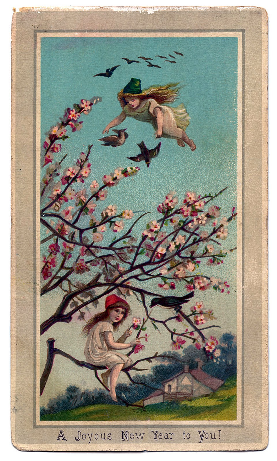 Victorian New Year Graphic   Fairy Girls with Cherry Blossoms   The     Victorian New Year Graphic     Fairy Girls with Cherry Blossoms