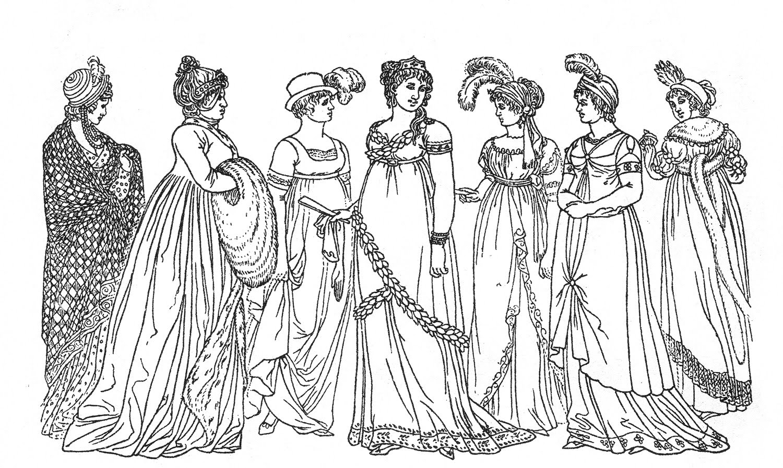 Vintage Kids Printable Regency Ladies Color Page The Graphics
