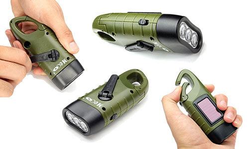 MECO LED Flashlight Emergency Hand Cranking & Solar Powered Rechargeable Flashlight