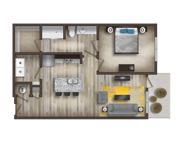 Floor Plans   The Henry at Fritz Farm The Henry at Fritz Farm luxury apartments 1 bedroom  1 bathroom floor plan    The