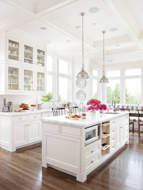 White Kitchens Wood Floors