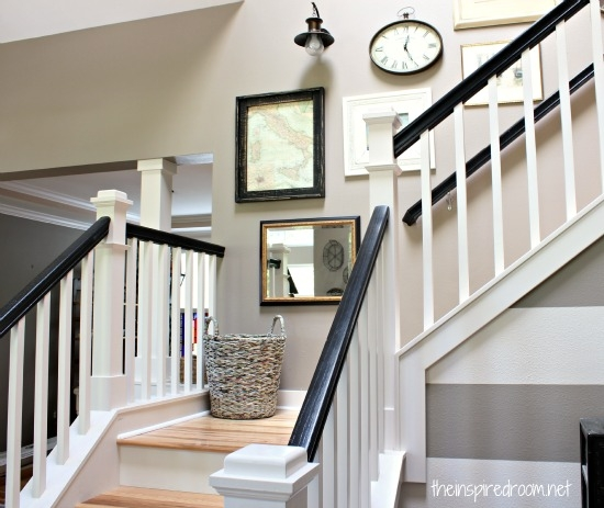 Nesting In The Entry Creating Ambience With A Beaded Crystal | Black And White Banister | Round | Deck | Light Wood Banister | Light Grey Grey White | Wrought Iron