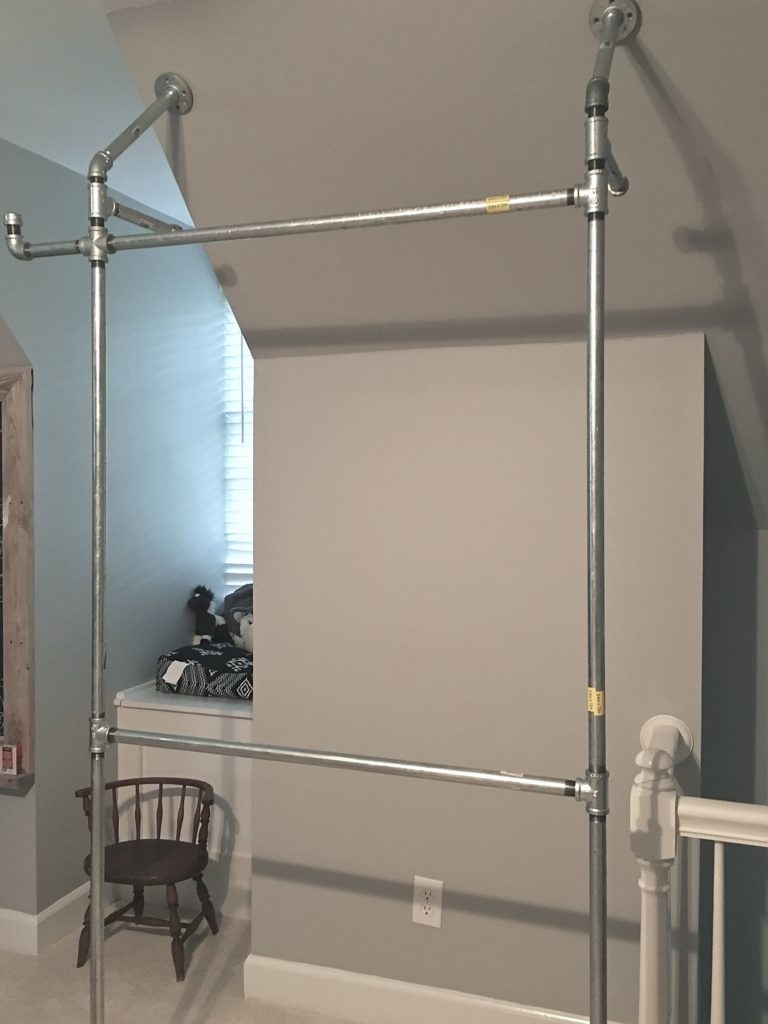 A Diy Pipe Closet At Our Cary Fixer Upper The Inspiring Investment | Diy Galvanized Pipe Handrail | Entrance | Abs Pipe | Curved Steel Pipe | Repurposed | Simple Pipe