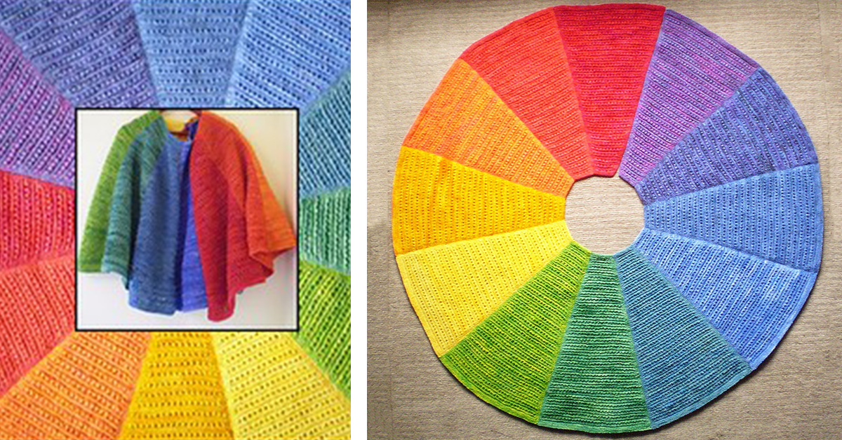 Color Wheel Knitted Shawl Free Knitting Pattern