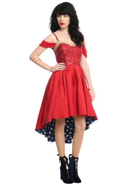 Hot Topic Does Geeky Prom With Dresses Inspired By Disney  DC  and     This Wonder Woman dress is just calling to be paired with some giant  bangles