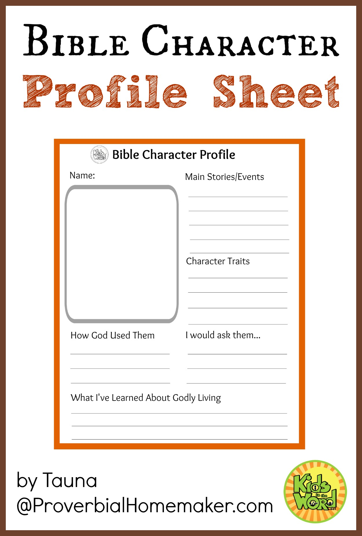 Bible Ch R Cter Profile Sheet