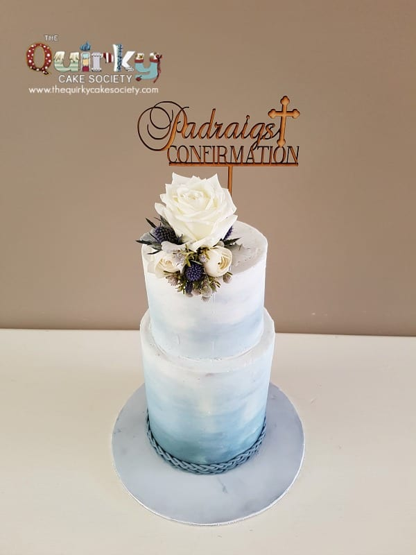 Confirmation Cake Dusty Blue The Quirky Cake Society