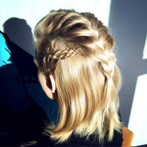 30 Elegant French Braid Hairstyles half up braided hairstyle for shorter hair