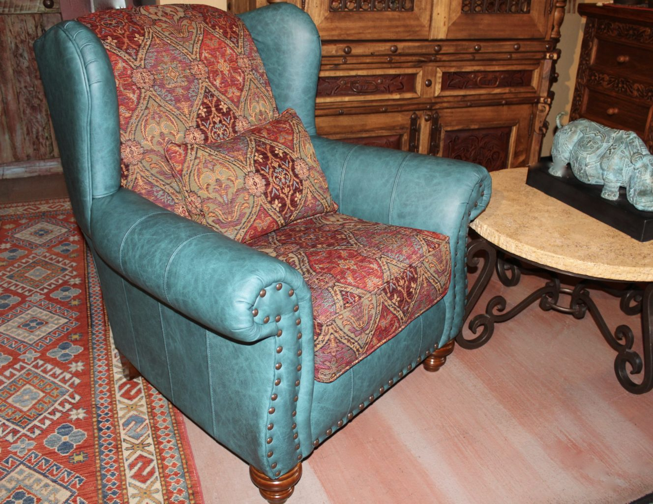 Turquoise Leather Accent Chair