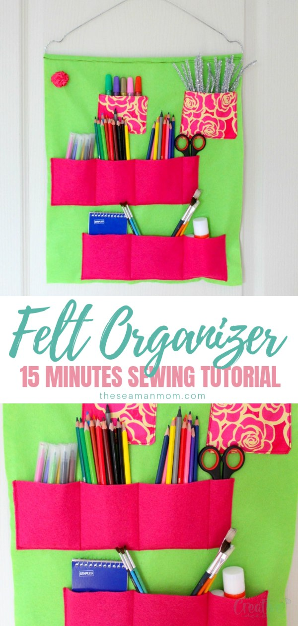 Have you been looking for easy to make school supply storage ideas? This super duper school supplies organizer is sewn with felt in just a few minutes and is the perfect way to get your life back in order! Be ready for any occasion and tidy up with this amazing DIYschool supplies organizer! via @petroneagu