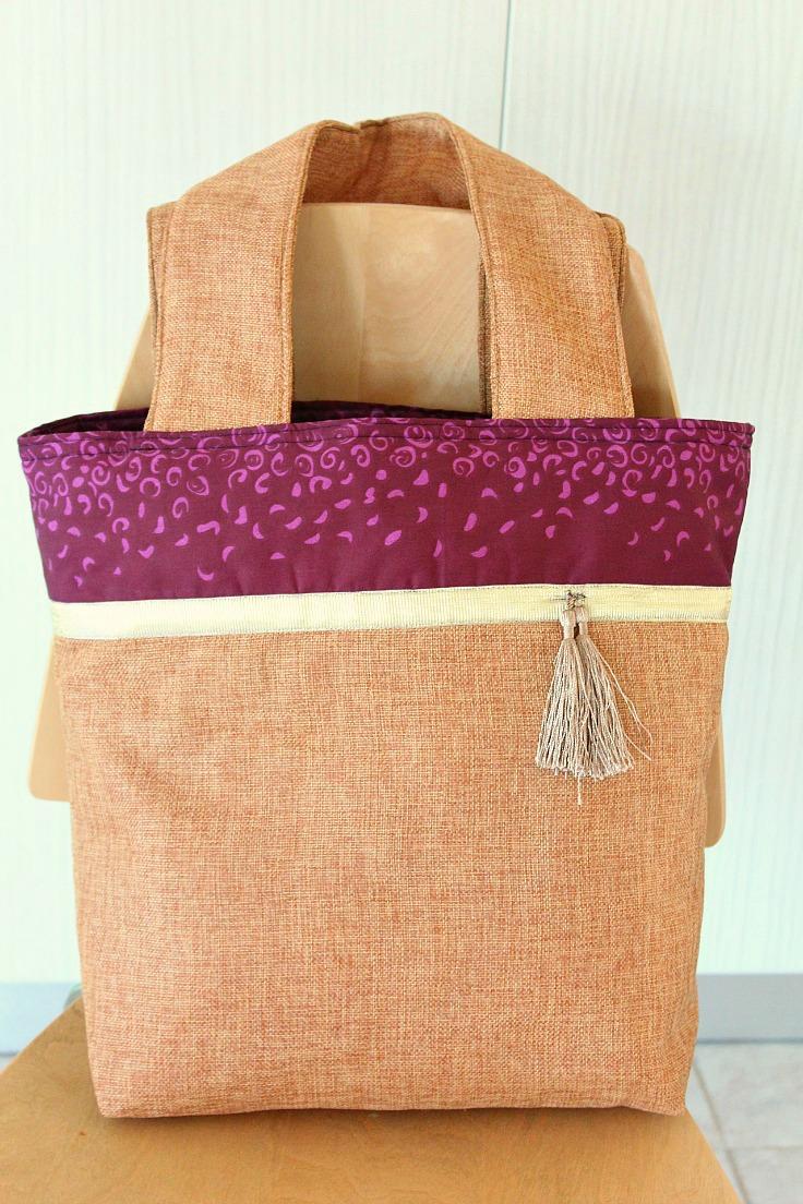 Two tone tote bag pattern