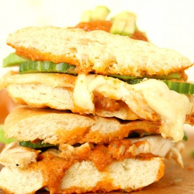 Thanksgiving leftover Turkey, cheese & red pesto panini