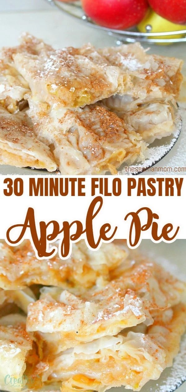 This homemade filo pastry apple pie is not only simple and quick to make but a great low fat alternative to the classic apple pie. A sure crowd pleaser, this apple pie with filo pastry will become your go to recipe whenever you're short on time or as a last minute dessert! via @petroneagu