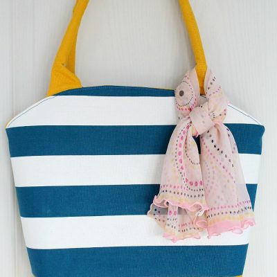 Round Top Tote with corded handles