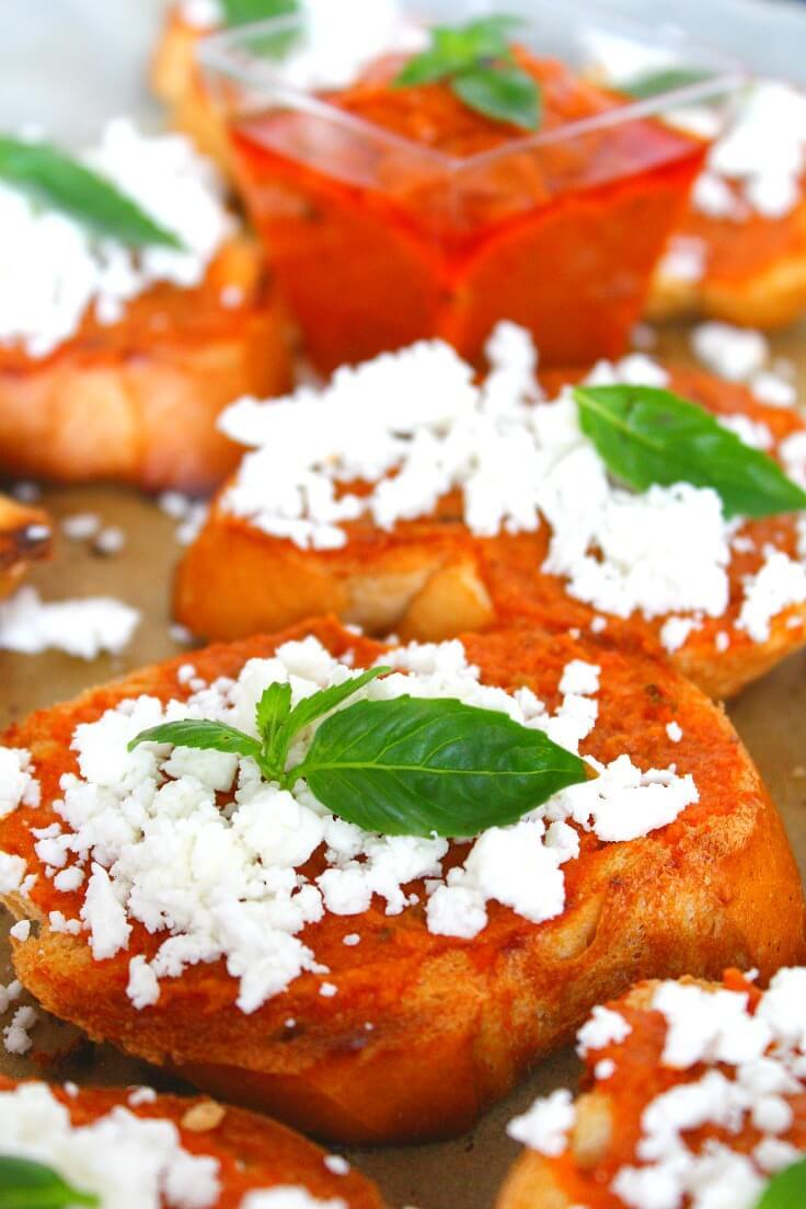 Pesto Feta Cheese Crostini