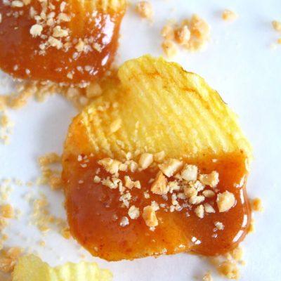 Caramel potato chips snacks