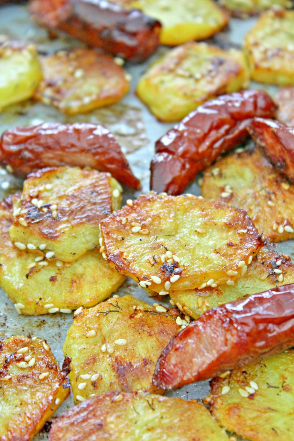 roasted potatoes and sausage