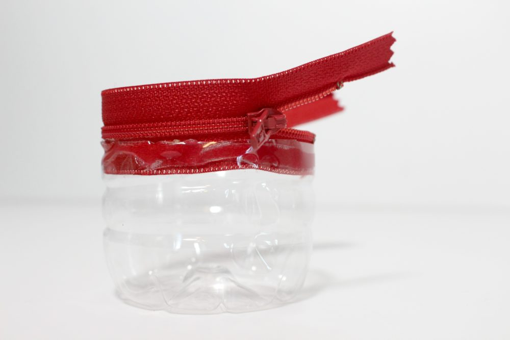 Step 2 to make a zippered snack container