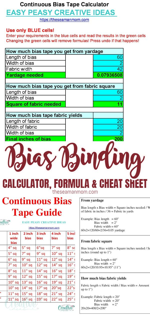 Trying to figure out how much fabric you need to make your bias tape? Or maybe you need a binding calculator to find how much bias your fabric yields? This simple bias calculator is super helpful, coming with the detailed formula and a handy dandycontinuous bias binding chart to make your life even more easy! via @petroneagu