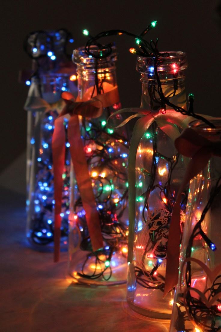 Christmas bottle lights