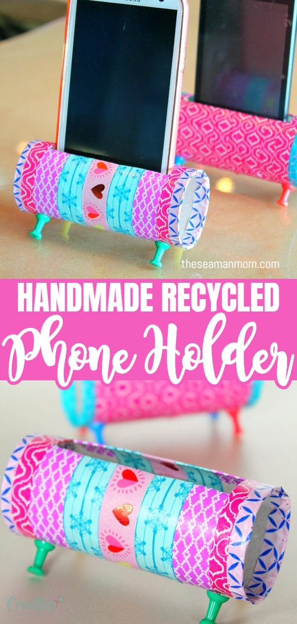 Re-purposing is all about creativity! Check out this easy peasy DIY Phone Holder! A fun and easy way to reuse and recycle those toilet paper rolls, this DIY cell phone holder is both cute and practical! via @petroneagu