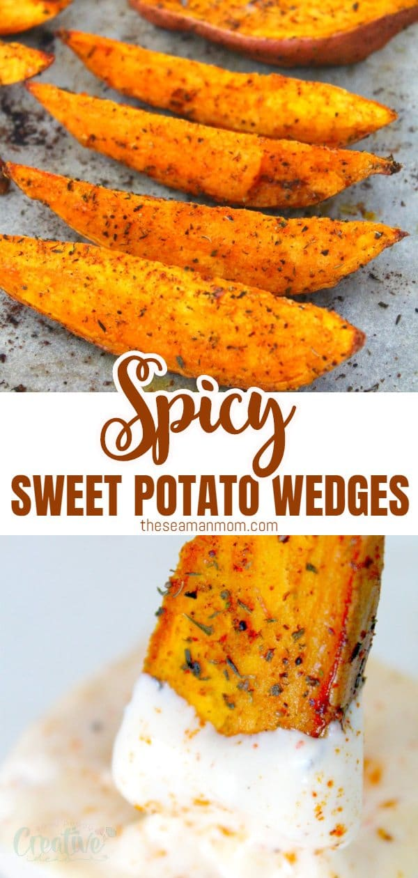 A delicious and simple recipe, these spicy sweet potato wedges are a great and healthier alternative to chips or fries! You will kick out your cravings and won't even feel like you are missing out on frying! A very versatile recipe, these baked sweet potato wedges are perfect as main meals, appetizers, sides or snacks! via @petroneagu