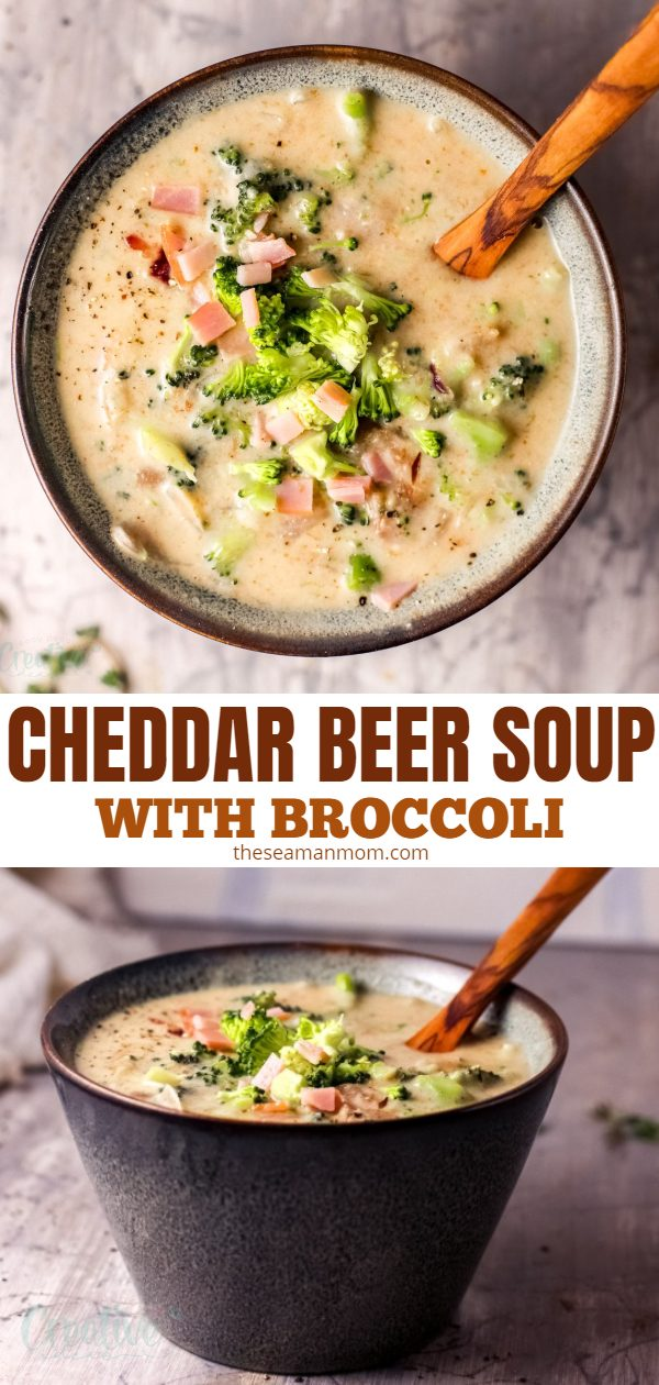 Cheddar cheese, broccoli and just a splash of beer is the perfect ingredient combination for this cheddar beer soup! Creamy and comforting, this beer cheese soup recipe is the perfect weeknight dinner! via @petroneagu