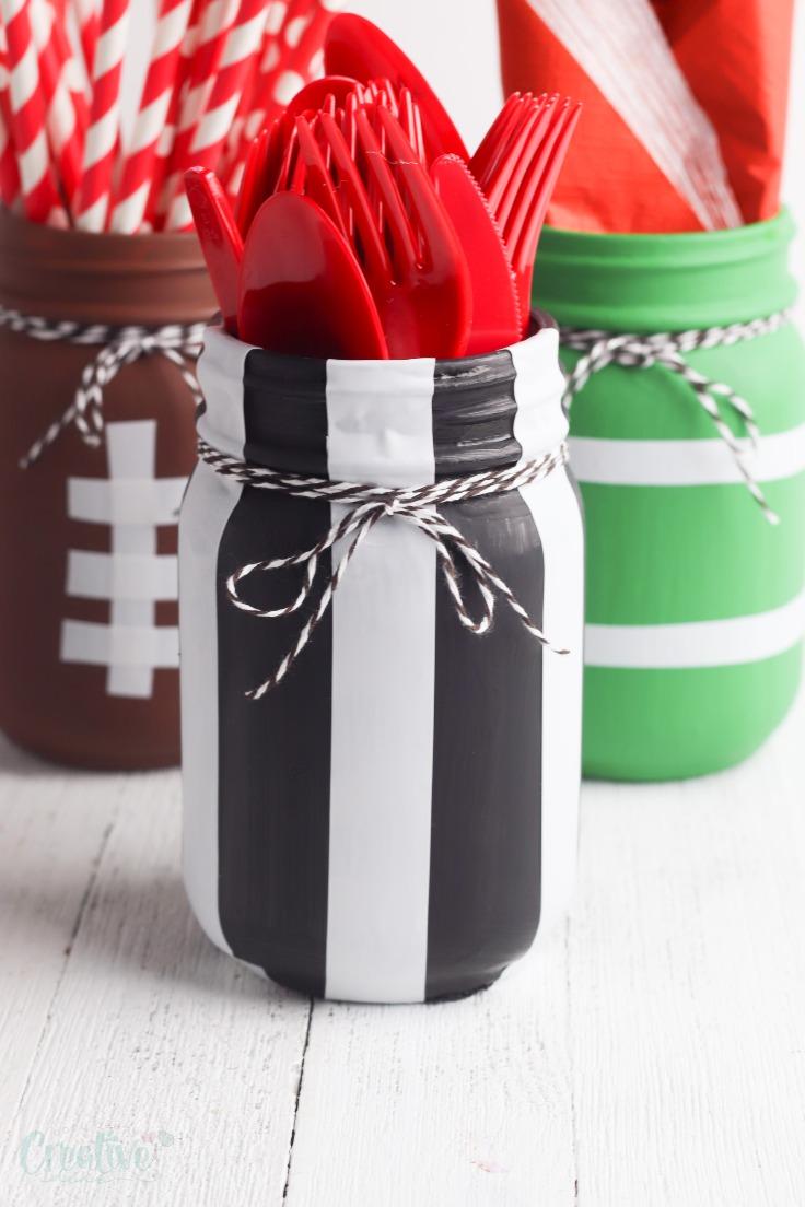 Football painted mason jars