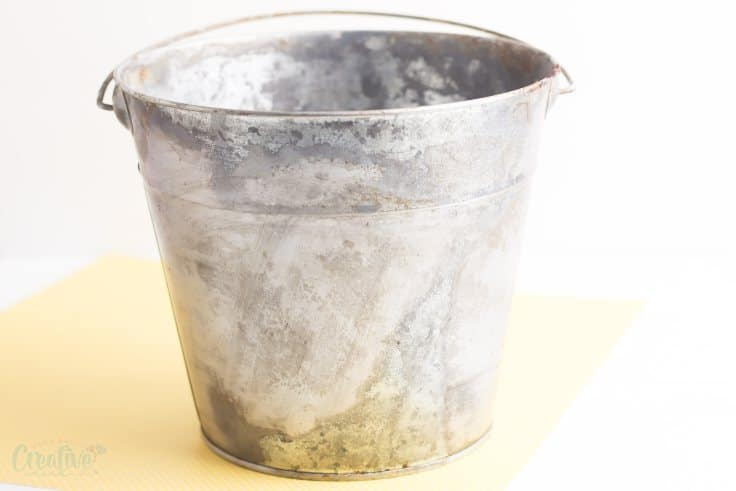 Galvanized flower bucket