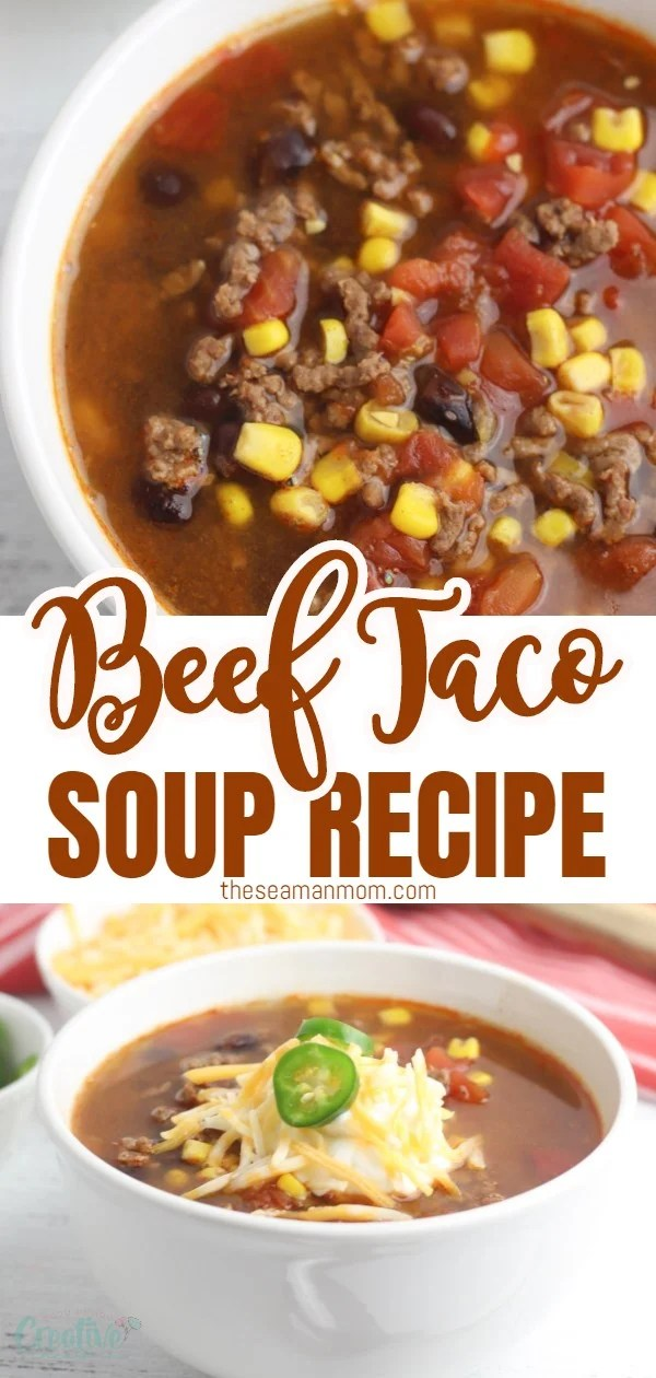 With only six ingredients, you can easily put this one-pot beef taco soup recipe together in just a few minutes! You'll love how easy this six-ingredient taco soup is to make. via @petroneagu