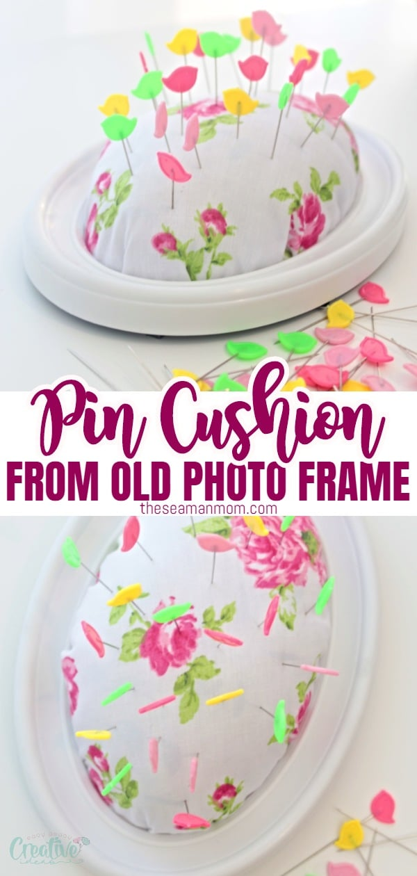 Love making your own pincushions? This easy peasy DIY pin cushion craft will show you how to make a frame pin cushion in just a few minutes, using a recycled photo frame! via @petroneagu