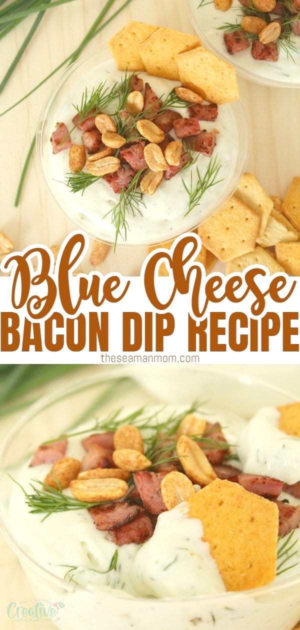 This blue cheese bacon dip appetizer is ideal for entertaining! Make it cold or warm, baked in individual cups and serve with fresh grapes or spicycrackers. via @petroneagu
