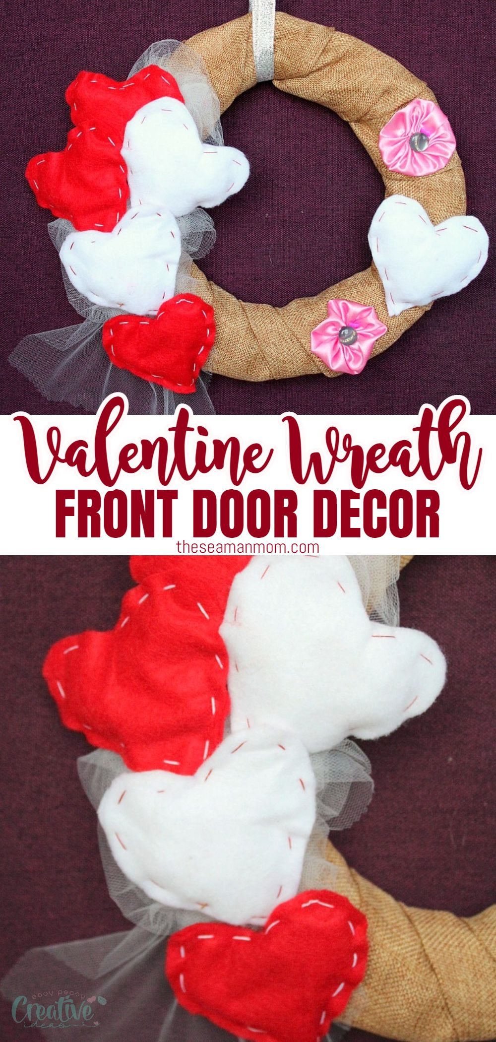 Looking for easy, cute and inexpensive Valentine decorations for the home? This DIY Valentine wreath is perfect to make your home a little more festive. via @petroneagu