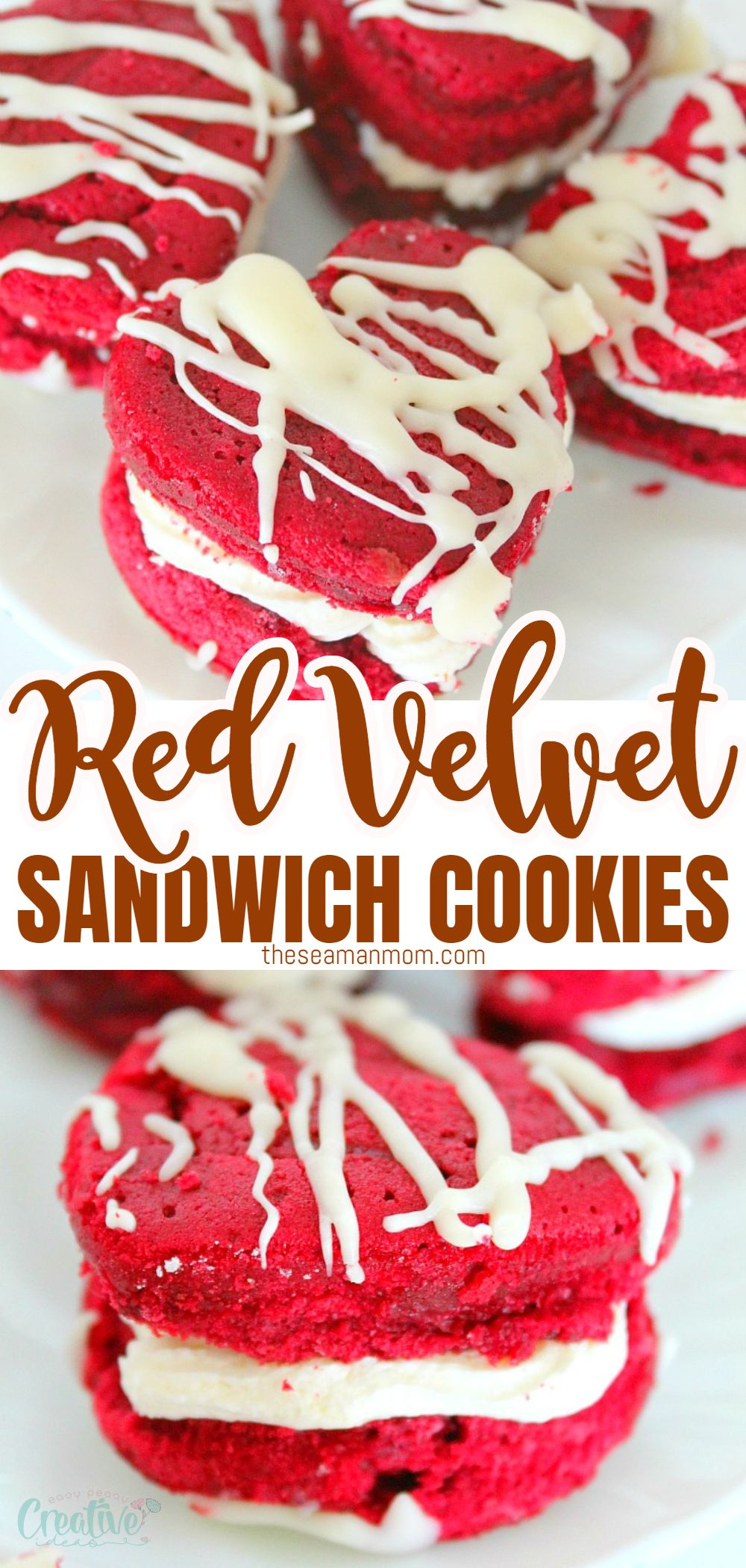 Make Valentine's Day even sweeter with these easy, adorable and delicious red velvet sandwich cookies! Two layers of rich red velvet cake filled with decadent coconut cream cheese frosting! via @petroneagu