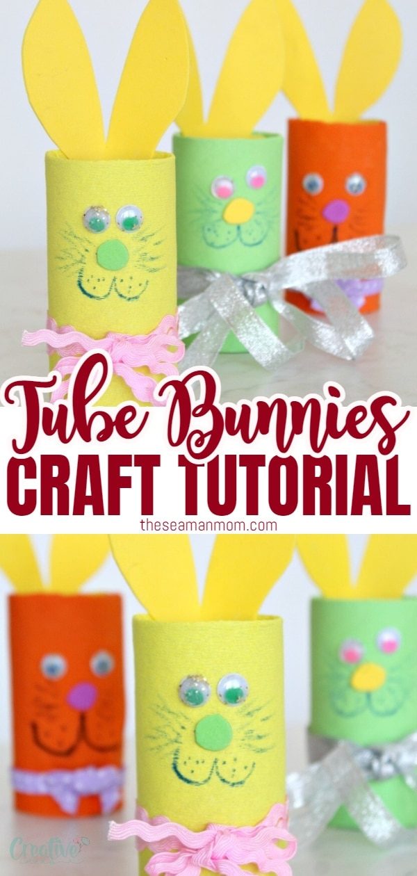 Need an easy and safe Easter craft to make with kiddos this year? This Easter bunny toilet paper roll craft is so cute and fun! via @petroneagu