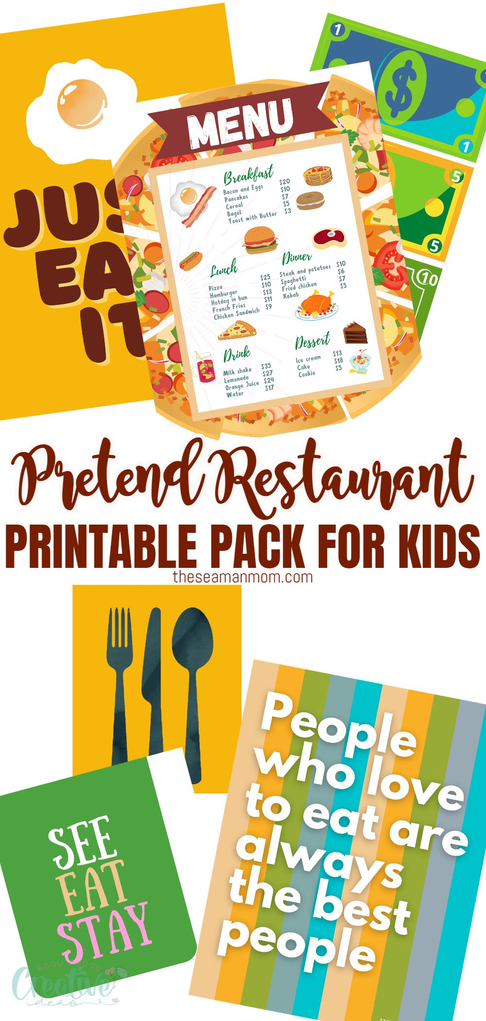Dramatic play is a great way for your kids to act out real-world situations at home. But creating new play areas every time your child wants to play something new can be expensive and time consuming. With the help of this printable set for a pretend play restaurant, you can easily set up a pretend restaurant in your home for your child in a matter of minutes. via @petroneagu