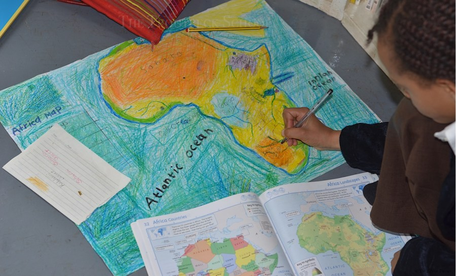 Drawing a physical map of Africa   The Troutbeck School Adding the rivers